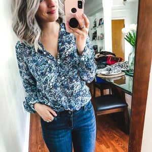 LOFT Sheer Blue Floral Blouse Large Petite LP